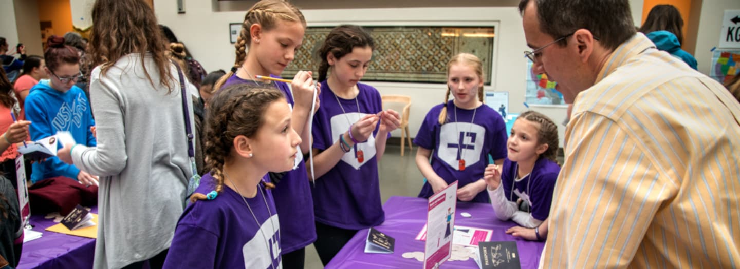 Students participate in the Girls' Adventures in Math event.